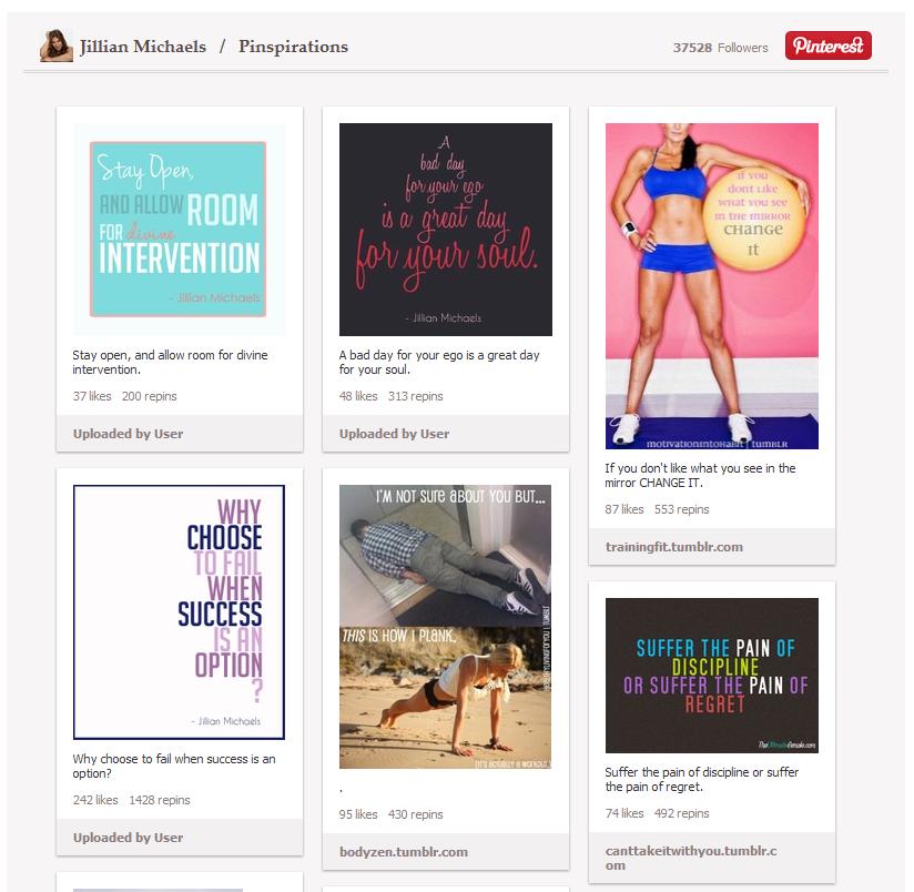Jillian Michaels Pinterest Tab - Pinspirations Board