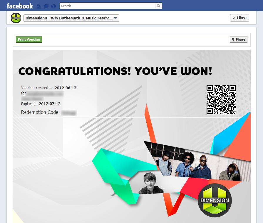 DimensionU Instant Win Voucher Page