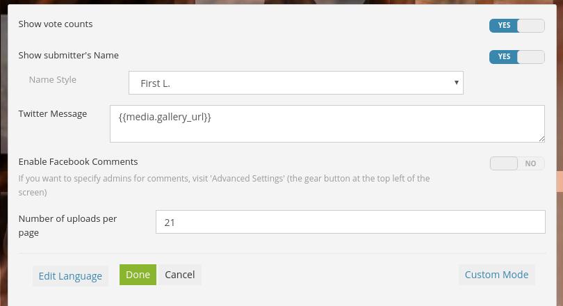 Gallery edit menu