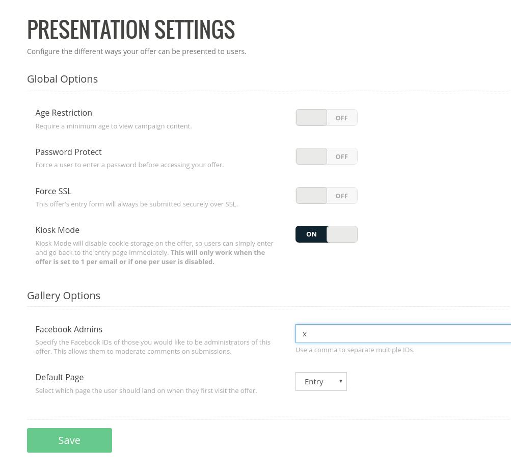 Advanced -> Presentation