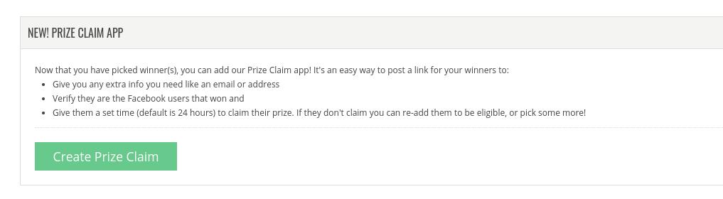 Create Prize Claim
