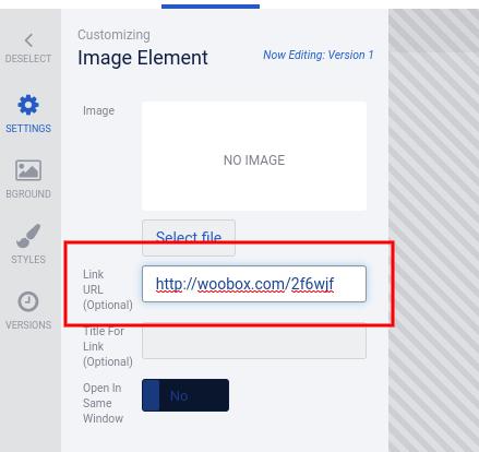 Link URL in image element